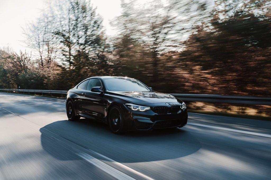 Black BMW on the autobahn